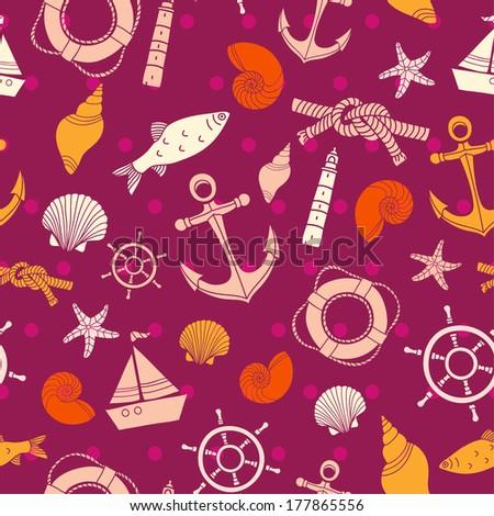Vector seamless sea pattern. Vector seamless ocean pattern. Sea background. Ocean background. - stock vector