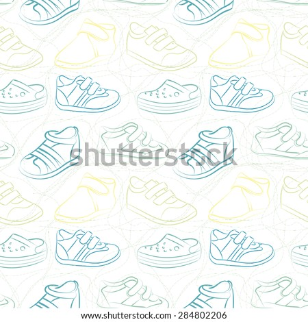 Vector seamless set of baby shoes - stock vector