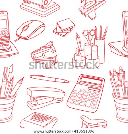 Vector seamless stationery pattern. Hand-drawn background. Doodle stylish office pattern - stock vector