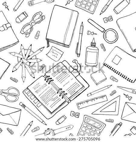 Vector seamless stationery pattern. Hand-drawn black & white background. Doodle stylish office pattern - stock vector