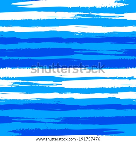 Vector seamless striped pattern with bold hand painted brushstrokes and watercolour stripes in bright variety of blue colors - stock vector