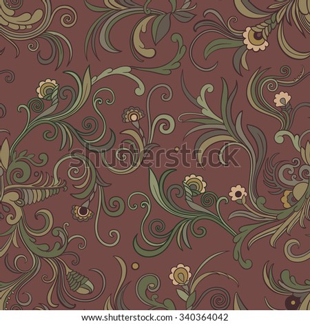Vector seamless swirly floral pattern. Stylized flowers and leaves on a dark red background. - stock vector