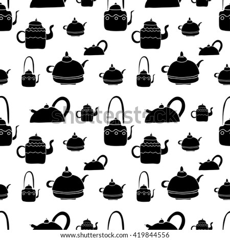 Vector seamless tea pattern set. Teapots collection. Black and white hand drawn tea objects.  - stock vector