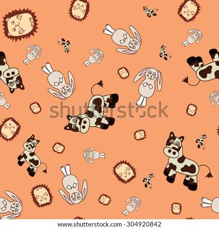 Vector seamless texture image hedgehog cow rabbit on orange background - stock vector