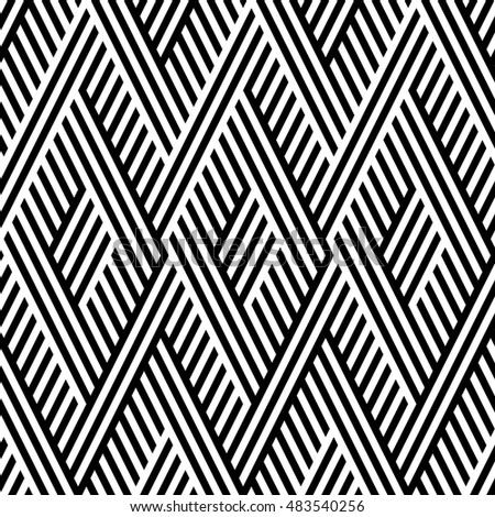 Vector seamless texture. Modern abstract background. Monochrome repeating pattern with intertwining strips.