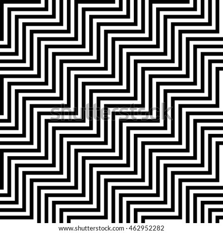 Vector seamless texture. Modern geometric background. Monochrome repeating pattern of zigzags arranged diagonally.