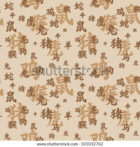 Vector seamless texture of chinese zodiac hieroglyphs - stock vector