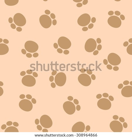 Vector seamless texture of paw tracks on a brown background