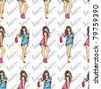 Vector seamless texture with fashion girls in sketch-style. - stock vector