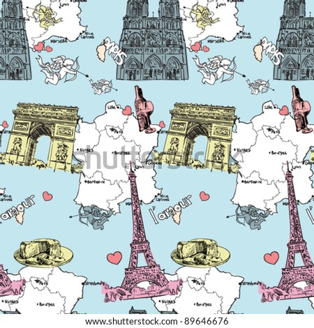 Vector seamless texture with french motive. - stock vector