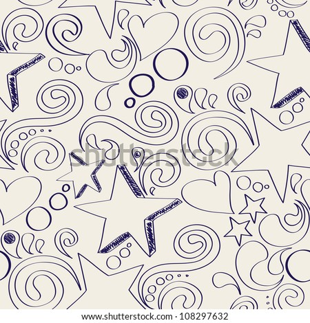vector seamless texture with hand drawn elements