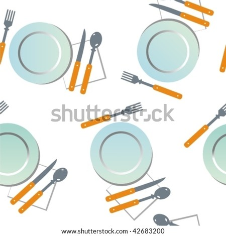 Vector seamless texture with plates - stock vector