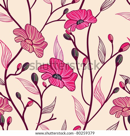 Vector seamless texture with red drawing flowers - stock vector