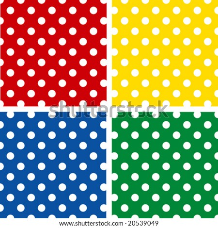 vector - Seamless Tiles, White Polka Dots pattern on red, yellow, blue, green backgrounds. EPS8 includes 4 pattern swatches  (tiles) that  will seamlessly fill any shape. - stock vector