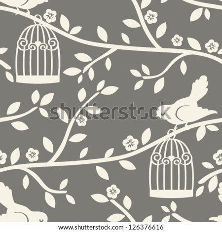 Vector seamless tree branch pattern with birds. - stock vector