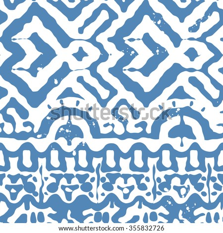 Vector Seamless Tribal Pattern for Textile Design. Hand Drawn Ethnic Ornament with Tangled Blue Stripes on White. Background in Navajo Style - stock vector