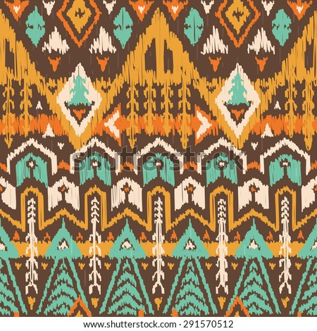 Vector Seamless Tribal Pattern in Scribble Style. Ikat Ornament with Triangles, Rhombuses and Stripes. Rough Edges Shapes - stock vector