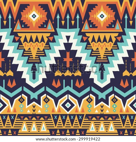 Vector Seamless Tribal Pattern. Stylish Art Ethnic Print Ornament with Triangles, Chevrons, Rhombuses and Stripes - stock vector