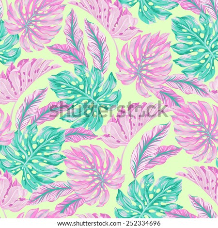vector seamless tropical leaves pattern. vintage detailed monstera leaves illustration in gentle colors. - stock vector