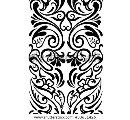 Vector seamless vertical border. Vintage floral ornament. Zen tangle style. Hand drown illustration. Black-white pattern. - stock vector