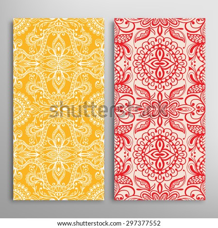 Vector seamless vertical patterns set with hand drawn texture for Wedding, Bridal, Valentine's day or Birthday Invitations. Business Cards, Flayers, Banners, Placards and Posters Design. - stock vector