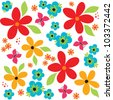 Vector seamless vintage background pattern with bright flowers and butterflies. Good for scrapbook, greeting cards, wrapping paper, wallpapers, surface textures. See my portfolio for JPEG version. - stock photo