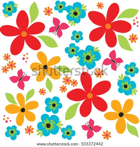 Vector seamless vintage background pattern with bright flowers and butterflies. Good for scrapbook, greeting cards, wrapping paper, wallpapers, surface textures. See my portfolio for JPEG version. - stock vector