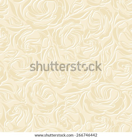 Vector seamless vintage beige pattern with lisianthus flowers. - stock vector