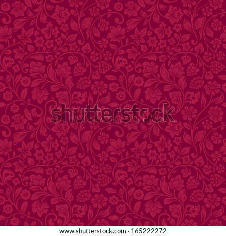 Vector seamless vintage floral pattern. Stylized silhouettes of flowers and berries on a claret background. Red flowers.  - stock vector