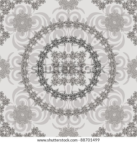 vector seamless vintage floral retro pattern, elements can be used separately, clipping masks - stock vector