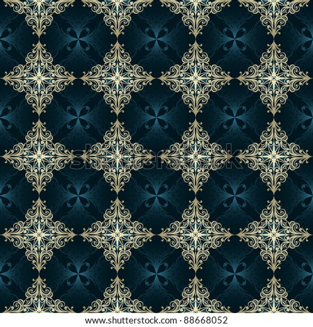 vector seamless vintage pattern,golden and blue - stock vector