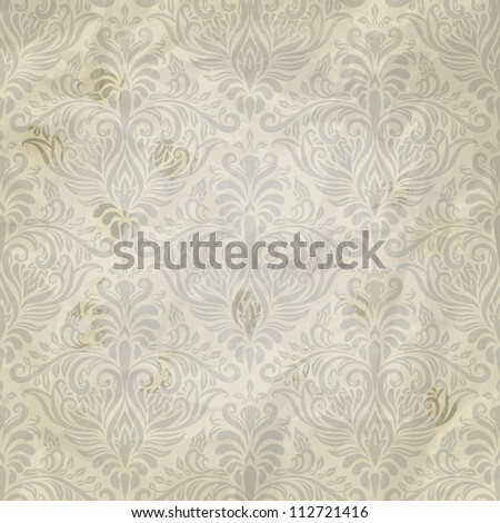 vector seamless vintage pattern on grunge crumpled paper texture, fully editable eps 10 file with clipping mask and pattern in swatch menu - stock vector