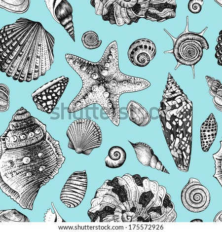 Vector seamless vintage pattern with black and white seashells on mint background.