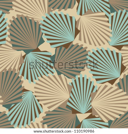 Vector seamless vintage pattern with colorful shells - stock vector