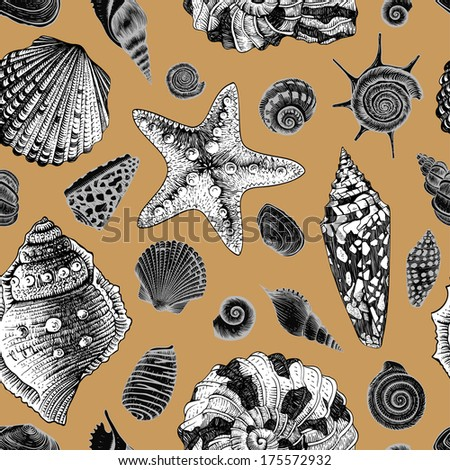 Vector seamless vintage pattern with white and black seashells on gold background.