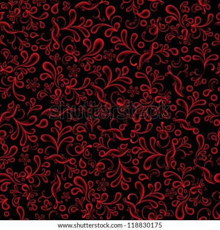 Vector Seamless Wallpaper Pattern Red And Black Flower Illustration Background