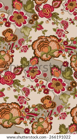 Vector seamless wallpaper with floral ornaments - stock vector