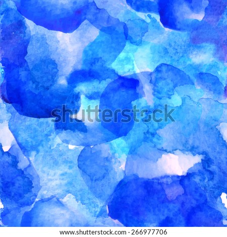 Vector seamless watercolor pattern. Blue-turquoise tint for print, web, fabric. Watercolor stains. - stock vector