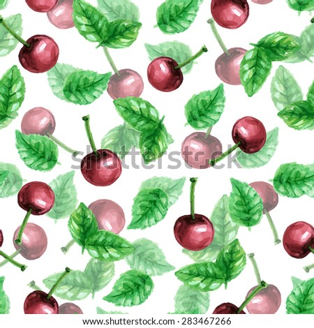 Vector seamless watercolor pattern with cherry berries and leaves of mint - stock vector
