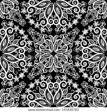 vector seamless white and black floral pattern background - stock vector