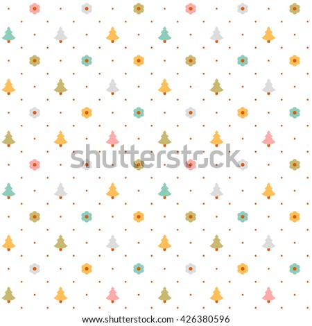vector seamless white pattern with small flowers and trees