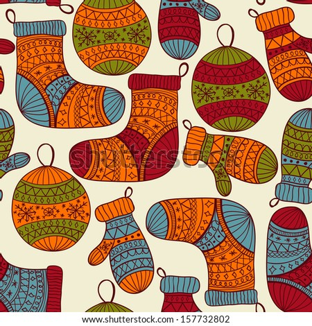 Vector seamless winter  Christmas pattern with socks, mittens, fir tree balls and snowflakes, pattern in swatch menu