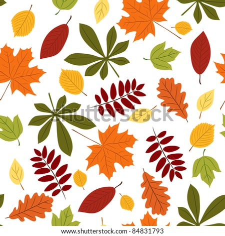Vector seamless with autumn many-colored leaves. Cartoon style. - stock vector