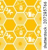 Vector seamless yellow pattern with honeycomb, honeybees, hive and honey pot - stock vector