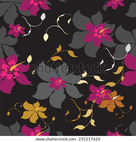 Vector Seamples  Pattern Flowers Floral Texture  - stock vector