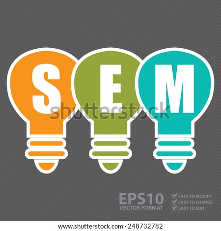 Vector : Search Engine Marketing, SEM Concept With Light Bulb - stock vector