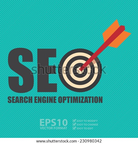 Vector : Search Engine Optimization, SEO Concept With Dart Hitting a Target Bullseye - stock vector