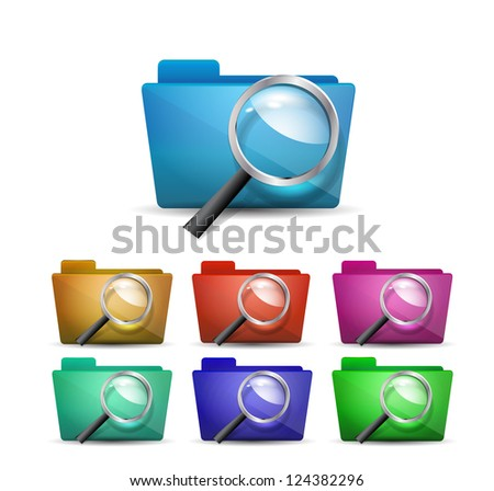 Vector search folders (magnifying glass) - stock vector