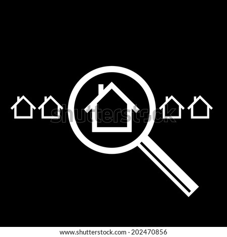 vector searching for house of home with magnifying glass real estate icon | modern flat design white pictogram isolated on black background - stock vector