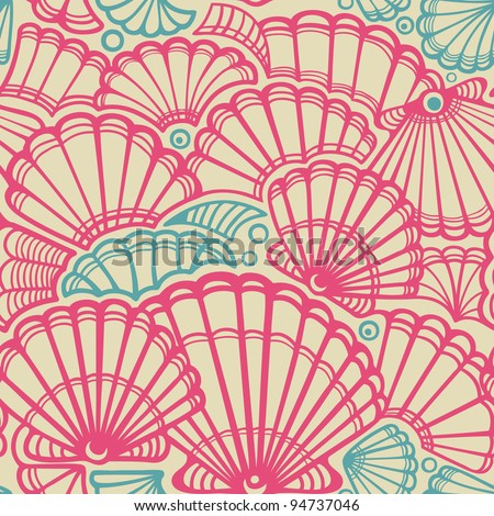 Vector seashell seamless pattern - stock vector
